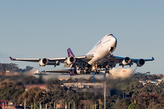 HS-TGB Thai Airways Boeing 747-4D7 Runway 25 Sydney Airport SYD/YSSY 8/7/2018 (TonyJ86) Tags: hstgb thaiairways tgtha boeing 747 747400 b744 7474d7 jumbo jumbojet goldenhour widebody quadjet aircraft aviation airliner airplane aeroplane plane passenger jet jetliner jetaircraft jetplane passengerplane passengerjet international departure takeoff rotate flight fly airport syd yssy sydneyairport sydneykingsfordsmith sydney nsw newsouthwales australia planespotting avporn aviationporn avgeek travel nikon d750 nikond750 vehicle outdoor aviationphotography tamronsp150600mmf563divcusdg2 tamron airtravel
