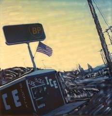 BP Ice 3 (tobysx70) Tags: polaroid sx70 sonar emulsion manipulation time zero tz instant film bp ice highway hwy 395 lee vining mono county california ca british petrolium cube block us usa flag old glory stars stripes toby hancock photography