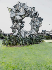 Angled Reflections (Steve Taylor (Photography)) Tags: gregorkregar sculpture cumulusgatepavilion art digitalart flax grass shape outline lines airport newzealand nz southisland canterbury christchurch