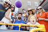 Miguel Rivas, Aoife Crowley and son Dan, Dave Burke, Fergus and Kerrie McCormack with daughter Vivienne and Cuan and Sinead Ryan pictured on the Mamma Mia! Here We Go Again float at this year's Dublin Pride Parade, Saturday June 30th. Picture Andres Poveda