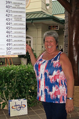 Winner, winner chicken dinner! (BarryFackler) Tags: hawaii waikoloa kingsshops 27thannualgreatwaikoloarubberduckierace kohala outdoor 4thofjuly julyfourth independenceday holiday fourthofjuly july4th bettyfackler bettybowen betty winner people smiling smile shrub board building structure 2018 hawaiiisland polynesia bigisland hawaiicounty tropical sandwichislands westhawaii barryfackler barronfackler hawaiianislands rubberduckierace
