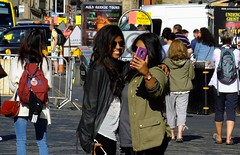 Selfie Chums (byronv2) Tags: selfie camera cellphone phone mobilephone peoplewatching candid street royalmile oldtown edinburgh edimbourg scotland sunny sunshine summer girl woman smile friends asian indian