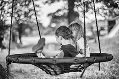 Twin moments 2 (jayneboo) Tags: twins bw mono boy girl child children happiness adventure swing nest norah ben grandchildren home noctilux