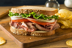 Homemade Roast Beef Deli Sandwich (brent.hofacker) Tags: background baguette beef beefsandwich bread bun cheese cold deli delisandwich delicatessen delicious dinner food french fresh gourmet green healthy hoagie lettuce lunch meal meat rare red roast roastbeef roastbeefsandwich roasted sandwich sliced snack sub submarine tasty tomato vegetable