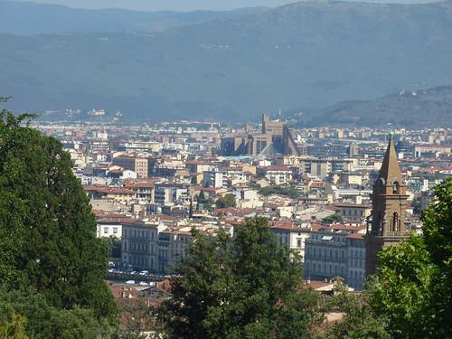 The Knight's Garden - Boboli Gardens, Florence - skyline view including the Palazzo di Giustizia and bell tower of Basilica di Santo Spirito