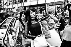 Arrived at Harajuku (Victor Borst) Tags: yellow street streetphotography streetlife reallife real realpeople asia asian asians faces face candid travel travelling trip traffic traveling taxi cab tokyo japan japanese blackandwhite bw mono monotone monochrome urban urbanroots urbanjungle beautiful harajuka city cityscape citylife girls woman girl women lady ladies fuji fujifilm xpro2 expression