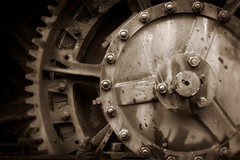 Gears and Wheels (EdBob) Tags: industry industrial gears wheels sepia blackwhite blackandwhite detail closeup rusty rusted graphic lewishines equipment earthmover cannonbeach dilapidated old classic vintage retro nuts bolts teeth edmundlowephotography edmundlowe oregon usa america allmyphotographsare©copyrightedandallrightsreservednoneofthesephotosmaybereproducedandorusedinanyformofpublicationprintortheinternetwithoutmywrittenpermission