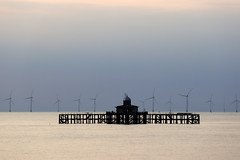 Windfarm, Old pier and buoys, Herne Bay views from the front on a fine warm calm summers evening (Jim_Higham) Tags: kent england uk europe top 10 guardian survey sunset sundown britiain british seaside
