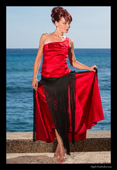 Lady in Red - Christine (madmarv00) Tags: d800 kakaakowaterfrontpark nikon hawaii honolulu kakaako kylenishiokacom model oahu red women dress ocean outdoor redhead girl