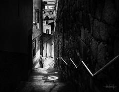 IV (RuiFAFerreira) Tags: bw black bnw white mood dark contrast portugal porto stairs light shadows man conceptual efs24mmf28stm canon street