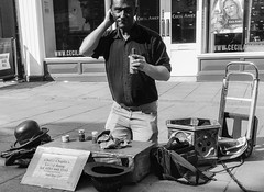 112/365 Being Charlie (denise.ferley) Tags: stphotographia streetphotography thisisnorwich thisisengland norwich fun urban uk oneaday streetperformance busking citylife city peoplewatching peopleinthestreet blackandwhitephotography charliechaplin