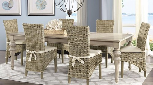 Cindy Crawford Home Key West Sand 5 Pc Rectangle Dining Room with Rattan Chairs