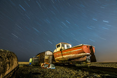 Startrails above a derelict boat  at chesil beach (R M Photography) Tags: dorset weymouth portland chesil chesilbeach tokina1116 tokina1116mm tokina nikon d3300 nikonfxshowcase inspiredbylove boat derelict star stars startrail startrails