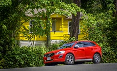 Something about those colours..... (Paul Rioux) Tags: colour colours red yellow volvo car automobile house trees scenic bold vivid galianoisland prioux