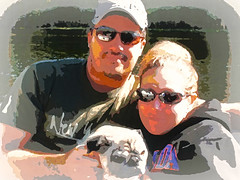 Embraced (soniaadammurray - On & Off) Tags: digitalphotography couple man woman people dog pets boating fun happiness smile play family familyactivities paintedportraits theawardtreechallenges
