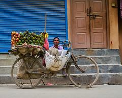 Fruit vendor waiting for customers in Kathmandu, Nepal (BryonLippincott) Tags: nepal thamel asia asian centralasia kathmandu nepali men two vendor fruit selling business street streetscene apples basket bicycle waiting businessman entrepreneur bored armsfolded