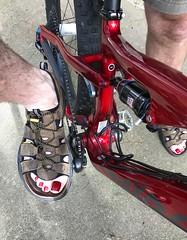 On my mountain bike (toepaintguy) Tags: opi salsa bike mtb red guy man male nails toe toenails pedi pedicure