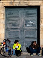 Pilgrims / Peregrinos (López Pablo) Tags: pilgrim bicycle door people santiago compostela wayofsaintjames galicia spain nikon d7200