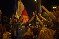 In the street of Paris, singing La Marseillaise, after France won against Belgium (rvjak) Tags: d750 nikon france flag drapeau football foot world cup coupe du monde paris