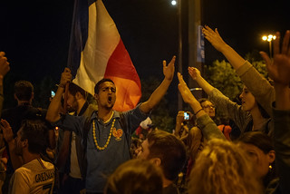 In the street of Paris, singing La Marseillaise, after France won against Belgium