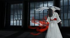 Through Broken Walls (Xan Baran) Tags: secondlife air night naminoke kimono white ribbon blades sai luas lelutka maitreya pinkfuelxans pose foxcity indoors