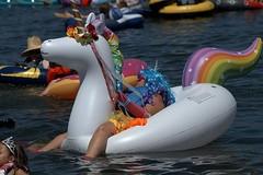 Unicorn Rider (Scott 97006) Tags: ride water wet float inflatable unicorn man wig fun