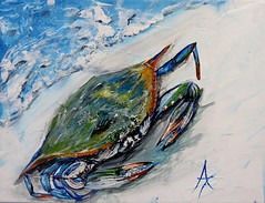 annette taunton blue crab art painting (annettetaunton) Tags: annettetauntonpaintingwildlifearesealife art painting wildlife ocean beach florida destin 30a gulf mexico blue crab sealife marine life