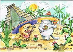 Mexican Cats; Painting by Kristina Crocus, Russia (chrisstonycreek) Tags: postcard mexican cats painting kristina crocus russia