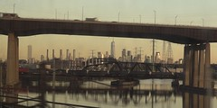 NJ Meadowlands 368 (stevensiegel260) Tags: newyork newyorkskyline manhattanskyline worldtradecenter newjerseymeadowlands newjerseyturnpike railroadbridge freighttrain train railroad passaicriver newjersey