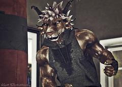 That Bag Work (Krull Darkshine) Tags: aesthetic beast charr sl secondlife rp roleplay 2018 avatar character warrior legionnaire anthro anthropomorphic ironlegion fantasy woodland county apartment heavy bag box boxing exercise hoodie sweat muscle guildwars2