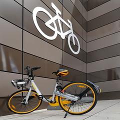 the yellow bike (heinzkren) Tags: bike fahrrad parkplatz yellow color logo sign panasonic lumix parking design style contemporary sport piktogramm symbol icon modern bicycle fiets vélo gelb bicicletta