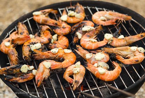 Shrimp BBQ at Ao Sane beach, Phuket island, Thailand