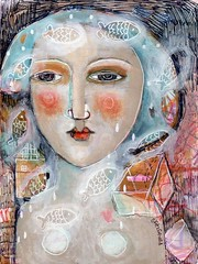 """MY HEART STILL FLOATS"" #2 series 23/07/2018 (kitty jujube) Tags: art mixedmedia modern folk fish float abstract woman face dream heart"