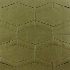 Origami tessellation: Flow (Michał Kosmulski) Tags: origami tessellation flow rivers hexagons honeycomb wetfolding michałkosmulski biotopepaper green