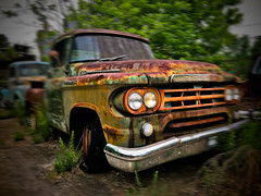 Old Car City Dodge-1 (NotableEquine) Tags: dodge pickup truck rust paint forest trees broken classic rusting rusty headlights grill