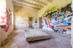 Free Party (JoshyWindsor) Tags: street city menorca urban abandoned spain canoneos5dmarkiii travel balearicislands droppings canonef1635mmf28l graffiti ruins agnitravel mattress derelict bed