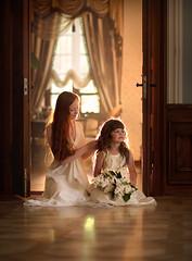 Sisters (olgafler) Tags: girl whitedress hairlong light window reflextion