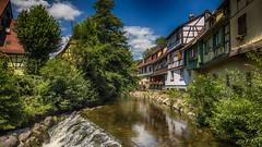 Près du lavoir enchanté (Fred&rique) Tags: photoshop lumixfz1000 hdr raw architecture village alsace eau rivière arbres végétation reflets ciel bleu nuages couleurs