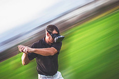 Man wearing VR glasses playing golf on abstract golf course - Credit to https://www.lyncconf.com/ (nodstrum) Tags: technology tech game gaming virtualreality reality augmentedreality oculusrift oculus future headset industry immersive