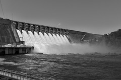 Hartwell Dam BW (rschnaible) Tags: hartwell dam south carolina georgia savannah river water outdoor landscape hydro electric power generation spillway work production architecture bw black white photography monotone