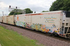 Some Spacey stuff including Rosie from the Jetsons (kschmidt626) Tags: union pacific train illinois rochelle park railroad graffiti bnsf burlington diamond