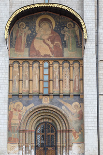 Entrance to the Cathedral of the Archangel at Kremlin in Moscow