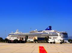 Greece, Piraeus Port. Norwegian Star (dimaruss34) Tags: newyork brooklyn dmitriyfomenko image sunset sun clouds lamppost greece piraeus port ship terminal trees pavement sky