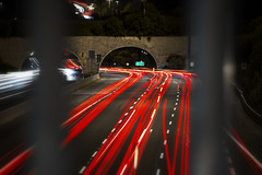 Northbound (Paul Flynn (Toronto)) Tags: toronto dvp don valley parkway donvalleyparkway highway city train bridge arch traffic longexposure long exposure light trail cars vehicle lines