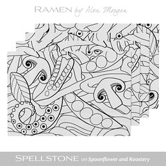 Ramen by Alex Morgan (Spellstone) Tags: octopus mushroom peas sugarsnappeas food ramen noodle soup herb leaf spellstone spoonflower roostery art craft design surface pattern society6 alexmorgan pillow cushion phonecase textile fabric wallpaper totebag tote clock wallclock mug rug pouch laptopskin clothing apparel sewing curtains