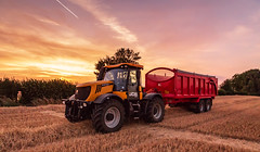 Farming Series (Harvest) (Ian Emerson (Thanks for all the comments and faves) Tags: summer harvest wheat grain swath sunset farming farmland englan claas jcb fastrac canon 6d nottinghamshire machinery tractor combine harvester