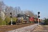 Colorful Consist at Ferguson (tim_1522) Tags: railroad railfanning rail missouri mo norfolksouthern ns stlouisdistrict searchlight signals generalelectric c408w gevo es44ac emd sd70m sd70m2