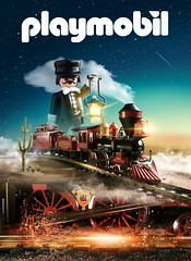 St. M Express (adrianlimonphoto) Tags: playmobil westerntrain train old vintage classic remake poster western sunset 90s 80s tren oeste