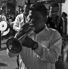 Blowing his own trumpet (magiceye) Tags: musician trumpet koli holi festival street monochrome streetportrait blackandwhite streetphoto vesave versova mumbai india