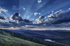 Kingdom of Heaven (foto guy Terry) Tags: sunset mountains clouds sky rays landscape lake trees nature vista nikon crepuscular